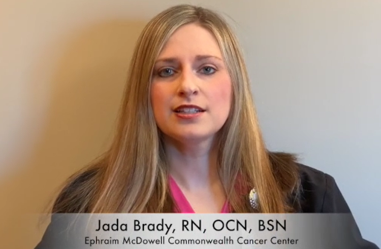 Jada Brady, R.N., O.C.N, B.S.N addresses the camera to discuss the five areas of concern with cancer control.