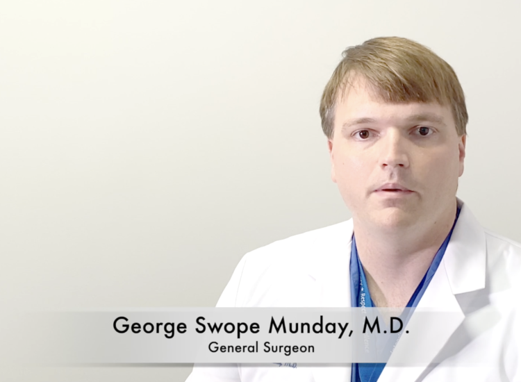 Dr. George Swope Munday addresses the camera about hernia screenings at Ephraim McDowell Regional Medical Center.