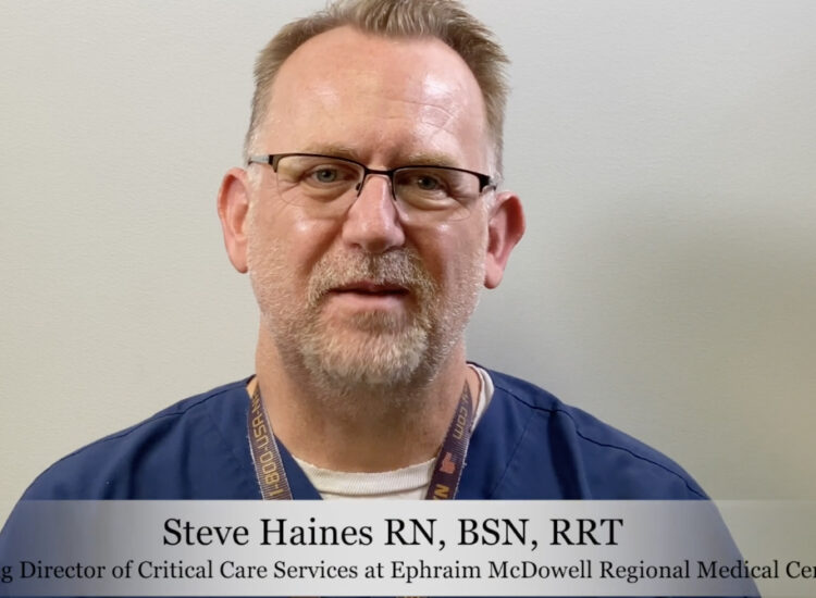 Steve Haines addresses the camera on the recent COVID-19 Surge at Ephraim McDowell Regional Medical Center.